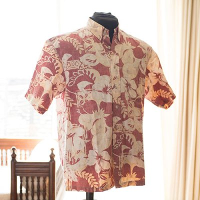 Vintage Aloha Shirt/ KAHAKA HAWAII ISLANDS レッドxイエロー Mサイズ