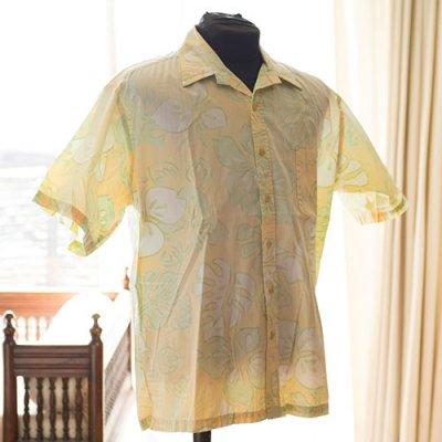 Vintage Aloha Shirt/ No brand ライトイエローxライトグリーン Mサイズ