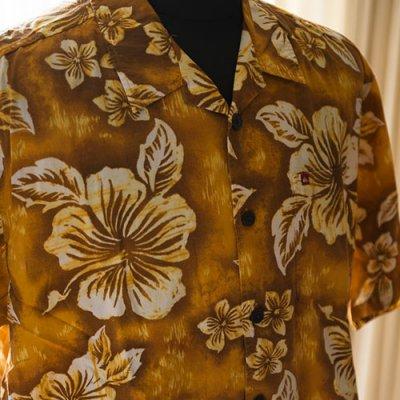 Vintage Aloha Shirt/ QuikSilver ブラウンxオーカー Mサイズ