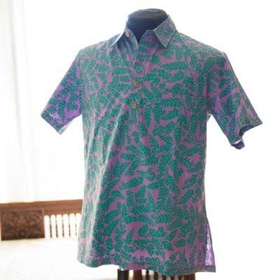 Vintage Aloha Shirt/ Sun babies ラベンダーxグリーン Mサイズ