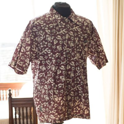Vintage Aloha Shirt/ T&C Surf Design co Hawaii ワインxオフ白xミリタリーグリーン Mサイズ