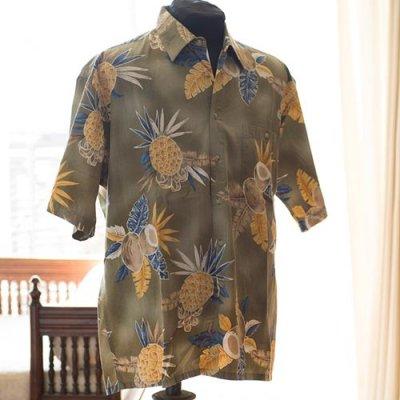 Vintage Aloha Shirt/ CAMPIA MODA ミリタリーグリーンxイエロー Lサイズ