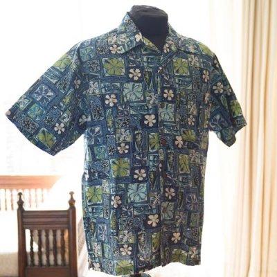 Vintage Aloha Shirt/ T&C Surf Design co Hawaii ネイビー Lサイズ
