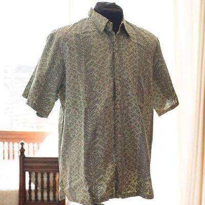 Vintage Aloha Shirt/ Blue Paradise エメラルドグリーンxブラック Lサイズ