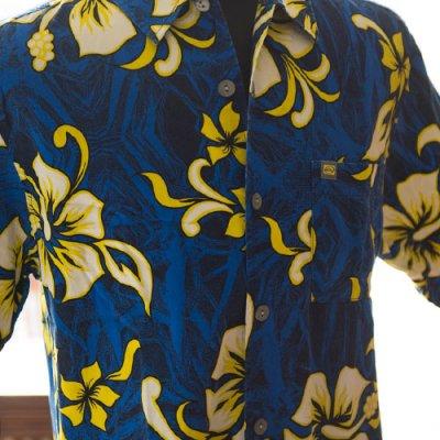 Vintage Aloha Shirt/ QuikSilver ブルーxブラック×イエロー XLサイズ