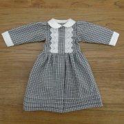 黒ライン チェック ピコ衿 ワンピース 34cmサイズ