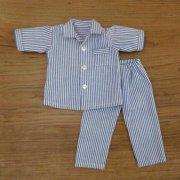 半袖 パジャマ ストライプ ブルー 28cmサイズ