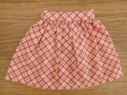 ギャザースカート・赤の斜めチェック・28cmサイズ