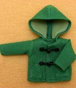 緑のフード付きショートダッフルコート・28cmサイズ