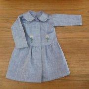 丸衿ワンピース お花の刺繍 ブルー 34cmサイズ
