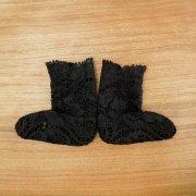 人形用 レース 靴下 黒 28cmサイズ