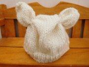 人形用 耳付き ニット帽 アイボリー 34cmサイズ