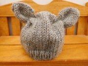 人形用 耳付き ニット帽 ブラウン 28cmサイズ
