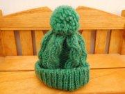 人形用 縄編み ニット帽 緑 28cmサイズ