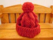 人形用 縄編み ニット帽 赤 28cmサイズ