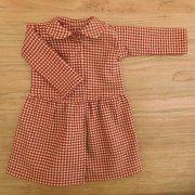赤×ベージュ チェック柄 丸衿 ワンピース 34cmサイズ