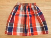 長め丈のギャザースカート・大きめチェック・34cmサイズ