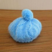 人形用 ベレー帽 モヘア 水色 34cmサイズ