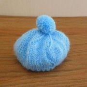 人形用 ベレー帽 モヘア 水色 28cmサイズ
