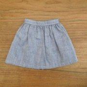 長め丈 ギャザースカート ブルー 34cmサイズ