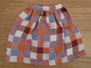 長め丈のギャザースカート・パッチワーク風・34cmサイズ