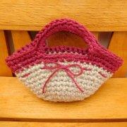 ミニ 編みバッグ リネン × 赤 34cmサイズ