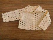 丸襟 ブラウス 赤の水玉模様 ピコ衿 28cmサイズ