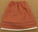 ピンタックのフレアスカート・赤のチェック柄・28cmサイズ