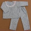 人形用 長袖 パジャマ 小花模様 水色 レース 34cmサイズ