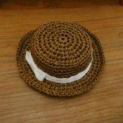 カンカン帽 ブラウン×白リボン 34cmサイズ