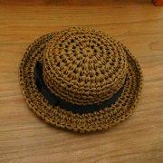 カンカン帽 ブラウン×黒リボン 34cmサイズ