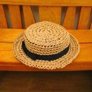 カンカン帽 ベージュ×黒リボン 人形用 34cmサイズ