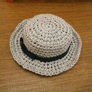 カンカン帽 ライトグレー×黒リボン 28cmサイズ