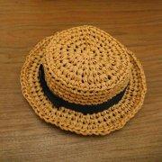 カンカン帽 ベージュ 黒リボン 28cmサイズ