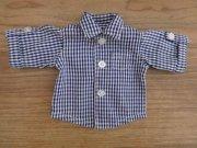 ロールアップシャツ 紺 ギンガムチェック 男の子 34cmサイズ