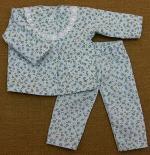 人形用 長袖 パジャマ 小花模様 水色 レース 28cmサイズ