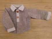 淡い茶色×ストライプの長袖シャツ・男の子タイプ・34cmサイズ