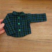 人形用 長袖 シャツ グリーン チェック 男の子タイプ 34cmサイズ