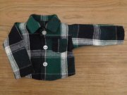 大きめチェックの長袖シャツ・男の子タイプ・34cmサイズ