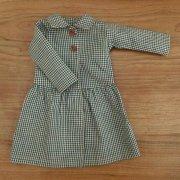 丸衿長袖ワンピース ギンガムチェック グリーン 34cmサイズ