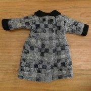 人形用 コート チェックウール 丸衿コート 34cmサイズ