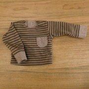 長袖 Tシャツ 茶系 ボーダー ダンガリー 28cmサイズ