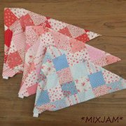 子供用 三角巾 ゴムタイプ 花柄 チェック パッチワーク柄