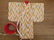女の子 略式着物 帯 矢絣 28cmサイズ