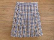 プリーツスカート・紺と茶のチェック・34cmサイズ