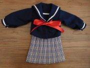 人形用 紺 セーラー服 チェック プリーツスカート 34cmサイズ