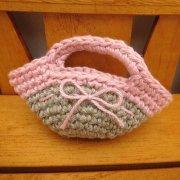 ミニ 編みバッグ リネン × ピンク 28cmサイズ