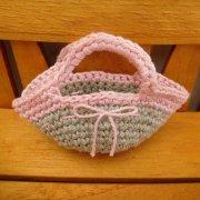 ミニ 編みバッグ リネン × ピンク 34cmサイズ