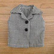 ノースリーブシャツ 黒のギンガムチェック 34cmサイズ