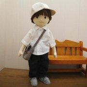 白 ロールアップシャツ ジーンズ 男の子 DB1-1 34cmサイズ